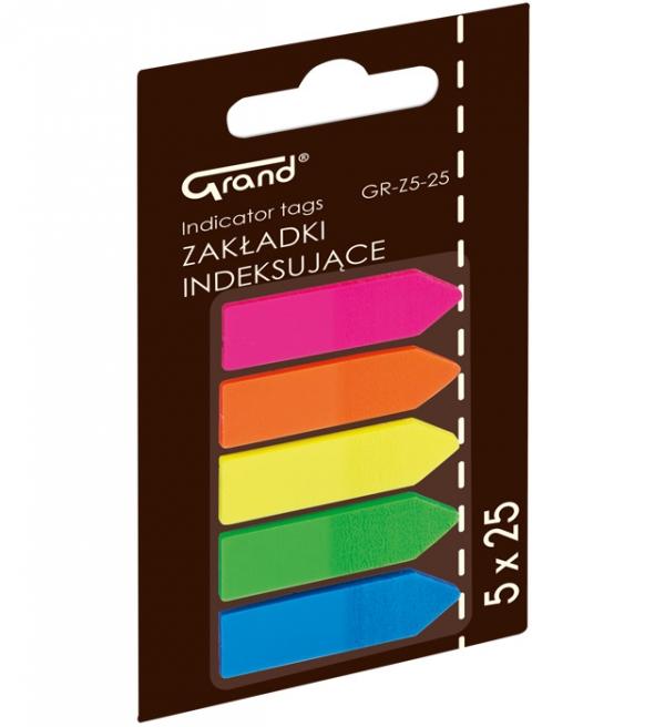 Zakładki indeksujące Grand, 5 kolorów - strzałki