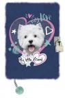 Pamiętnik z kłódką 3D włochacz A5, 96 kartek Pies