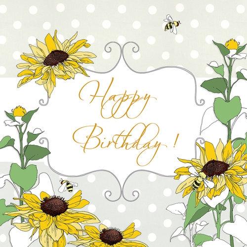 Karnet Swarovski kwadrat Urodziny słoneczniki