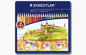 Kredki szkolne 24 kolory, w metalowym pudełku