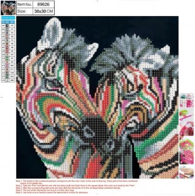 Mozaika diamentowa 5D 30x30cm Zebra 89626