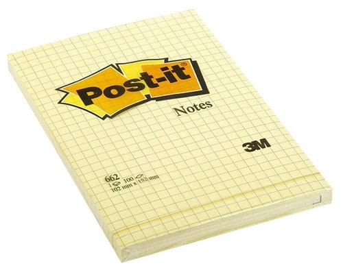 Bloczek samoprzylepny POST-IT w kratkę (662), 102x152mm, 1x100 kart., żółty