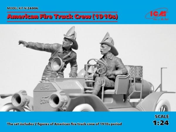1/24 American Fire Truck Crew 1910+2 figures (24006)