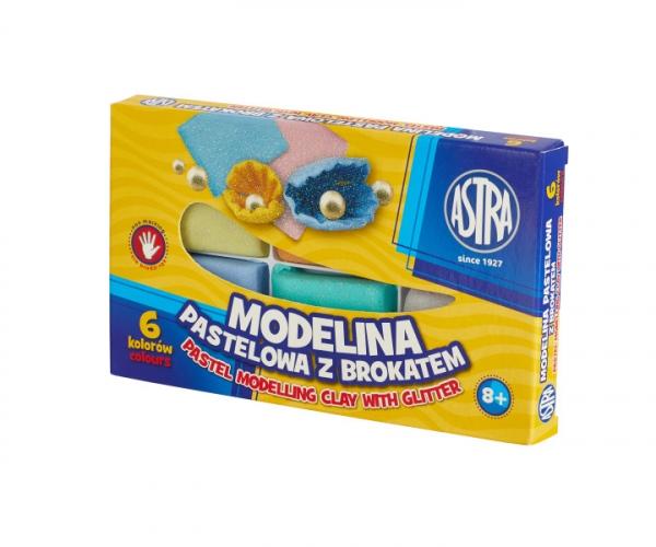 Modelina pastelowa z brokatem Astra 6 kolorów (304118001)
