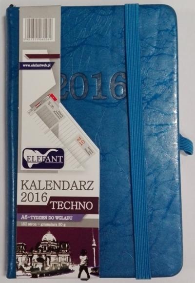 Kalendarz A6 Techno niebieski tygodniowy (TDW) 2016 .