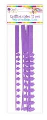 Płatkowe paski do quillingu piwonia i frędzle - fioletowe, 12 szt. (QGPQ-050)