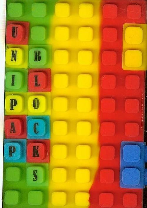 Notes silikonowy A6  Unipap Blocks w kratkę 100 kartek zielono-żółto-czerwony