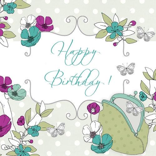 Karnet Swarovski kwadrat Urodziny motyle i torebka
