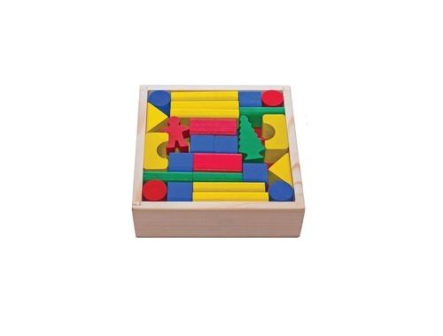Klocki drewniane w skrzynce 50 elementów kolorowe