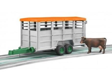 Przyczepa 2-osiowa do przewozu krów z figurką krowy (02227)