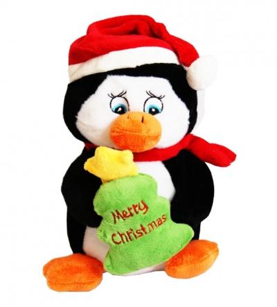 Pingwin z choinką w czapce