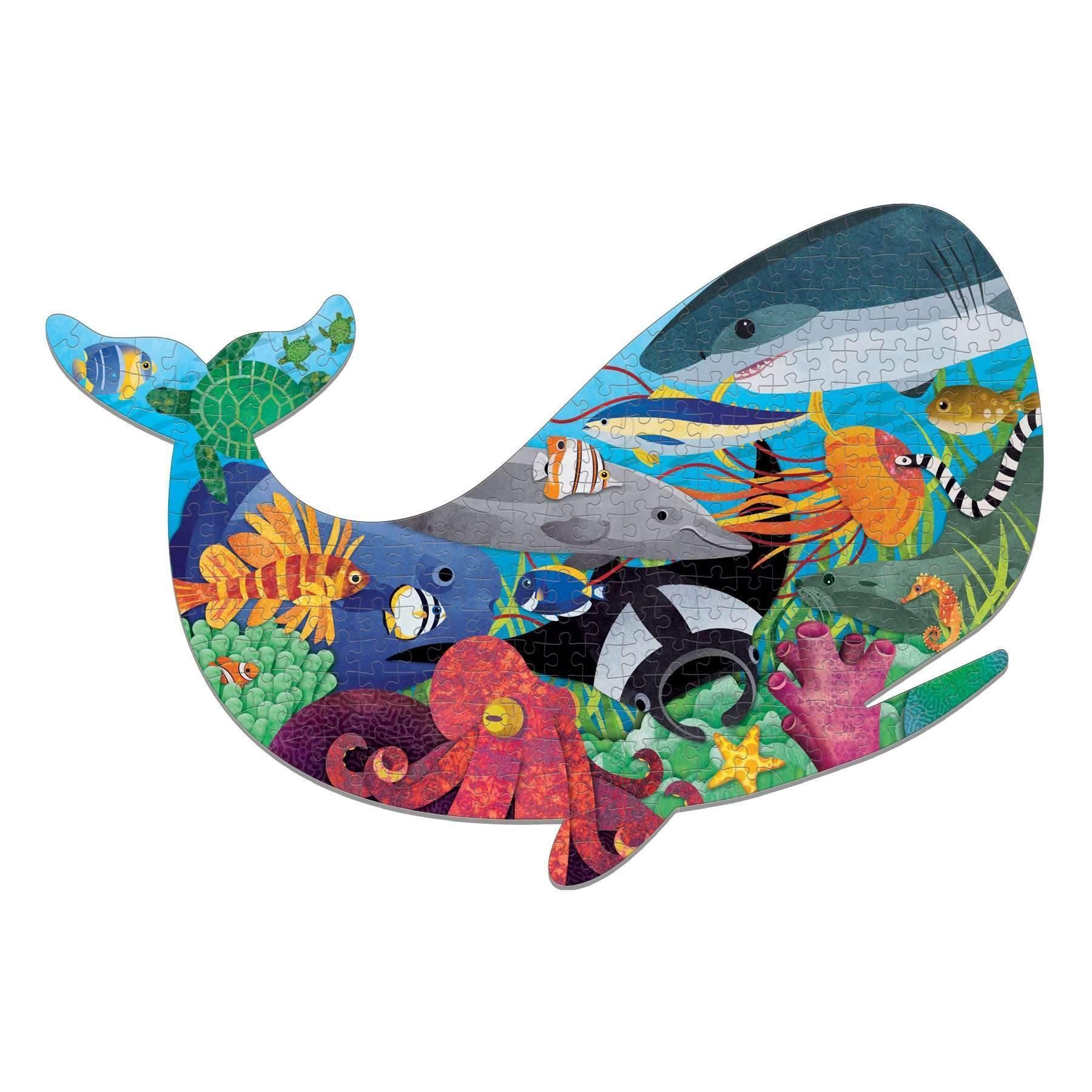 Mudpuppy, Puzzle konturowe 300: Życie oceanu - Wieloryb (MP57273)