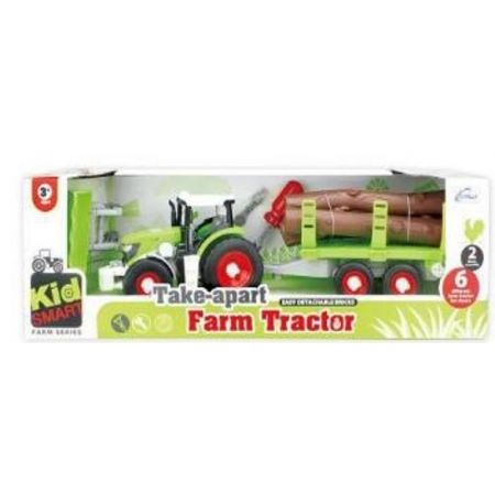 Traktor z przyczepą i drewnem do skręcania (109275)