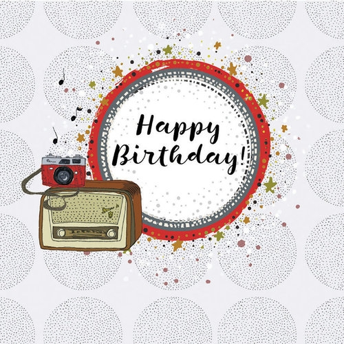 Karnet Swarovski kwadrat Urodziny radio i aparat