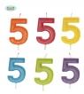 Brokatowa cyfra 5 świeczka na tort 4cm Mix kolorów