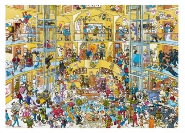 Puzzle 1000 elementów Dzień jak co dzień w hotelu, Schone (Puzzle+plakat) (29927)