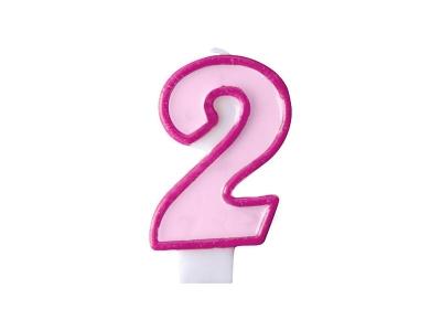 Świeczka urodzinowa Partydeco Cyferka 2 w kolorze różowym 7 centymetrów (SCU1-2-006)