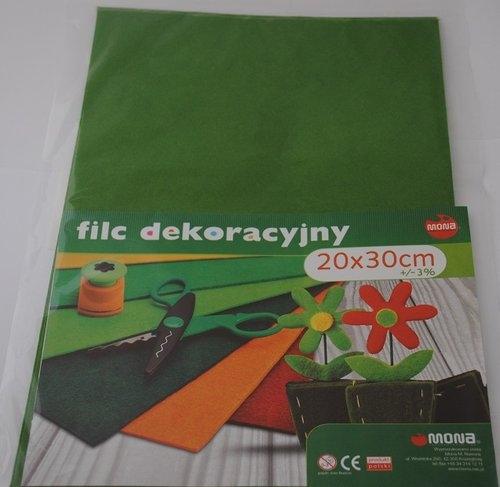 Filc w arkuszach 20 x 30cm. Kolor zielony 5 sztuk