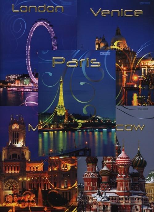 Zeszyt A5 Top-2000 w kratkę 96 kartek Miasta mix