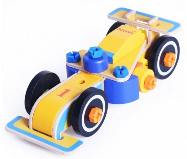 Klocki drewniane konstrukcyjne Wyścigówka (15003)
