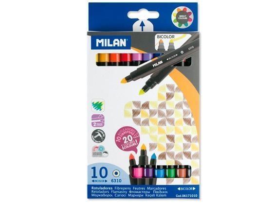 Flamastry Milan Bicolor 6310, dwustronne, 10 szt., 20 kolorów (06171010)
