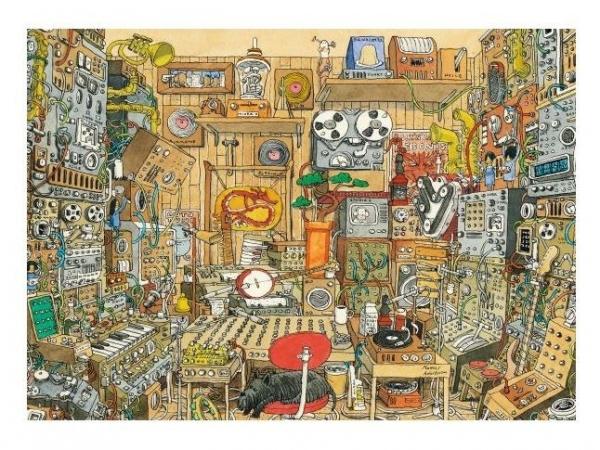 Puzzle 1000 elementów Szalone studio muzyczne, Adolfsson Mattias (Puzzle+plakat) (29928)