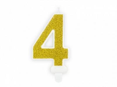 Świeczka urodzinowa Partydeco cyferka 4 złoty brokat 7cm (SCU3-4-019B)