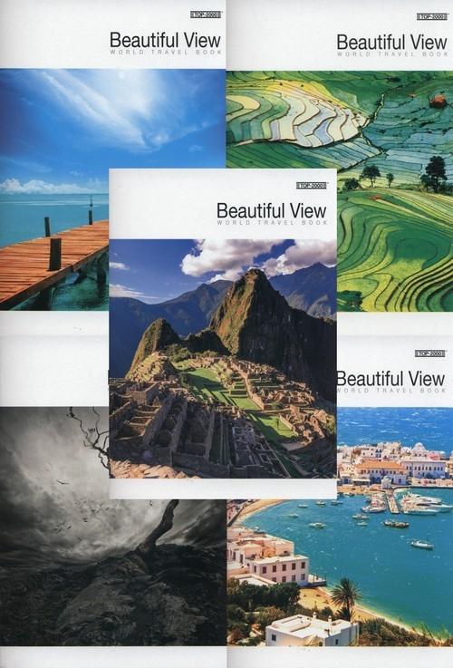 Zeszyt A5 Top-2000 w kratkę 96 kartek Beautiful view 5 sztuk mix