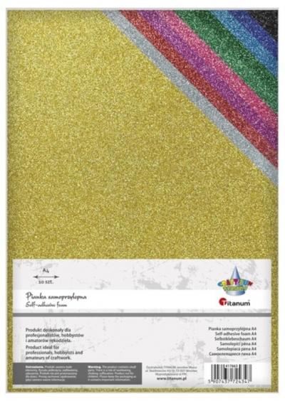 Pianka samoprzylepna brokatowa 20x30cm 10 kolorów