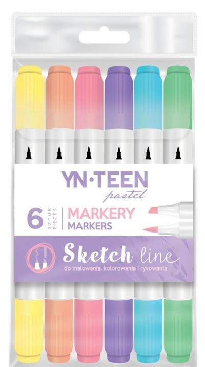 Marker Sketch Line Pastel 6 kolorów YN TEEN