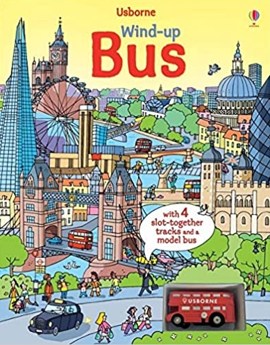 Wind-up bus book with slot-together tracks Watt Fiona