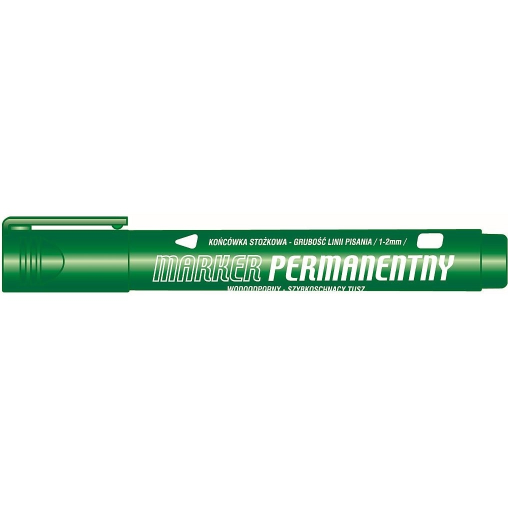 Marker permanentny Tetis, 1-2 mm, 12 szt. - zielony (KM102-ZO)