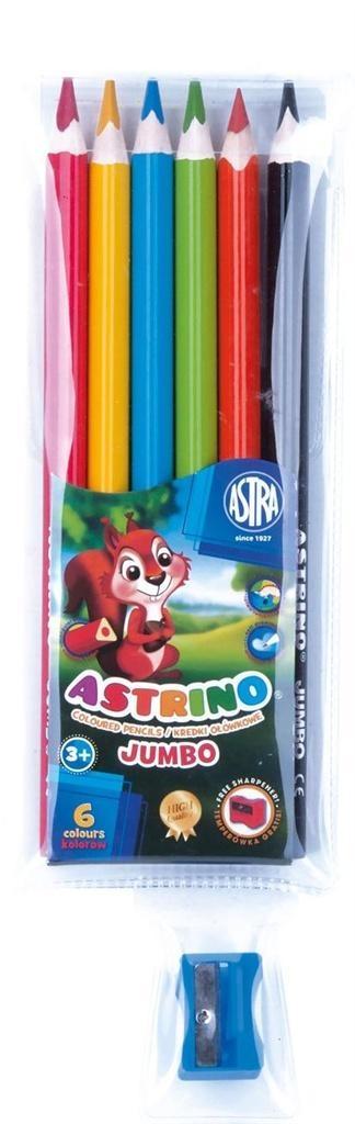 Kredki ołówkowe trójkątne Astrino 6 kolorów ASTRA