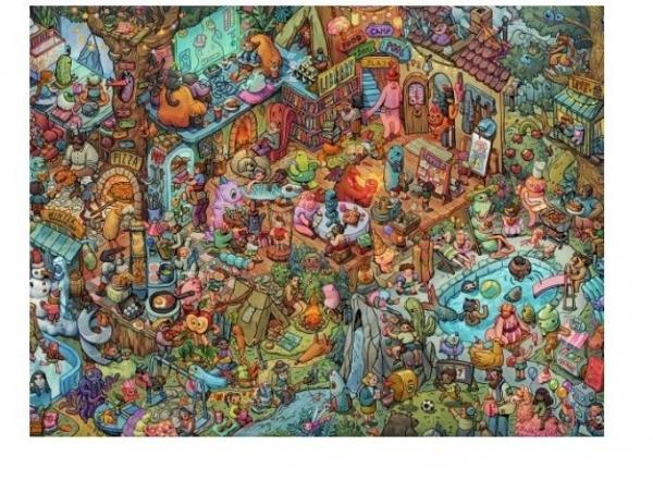 Puzzle 1500 elementów Zabawa z przyjaciółmi, Tiurina (Puzzle+plakat) (29929)