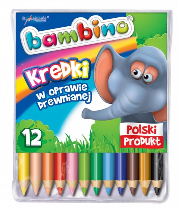 Kredki Bambino drewniane, 12 kolorów Mini zoo