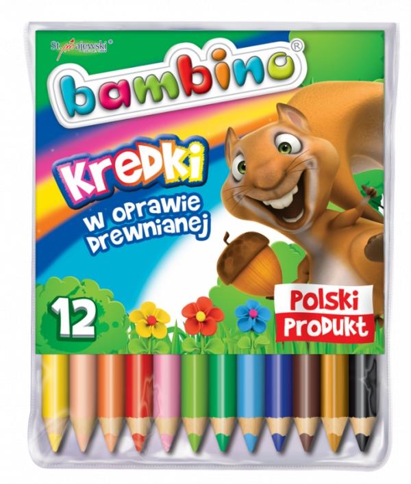 Kredki Bambino drewniane 12 kolorów Mini zoo
