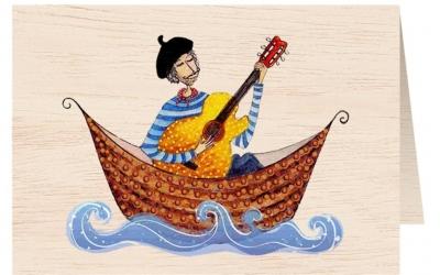 Karnet drewniany C6 + koperta Mężczyzna w łódce
