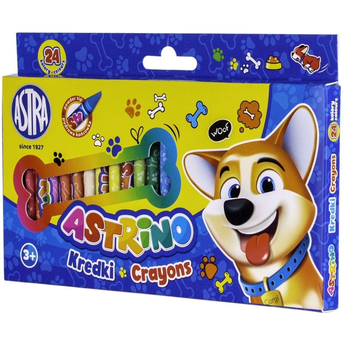 Kredki świecowe Astrino grafionowe, 24 kolory (316121002)