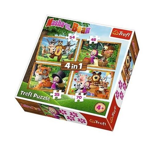 Puzzle 4w1: Leśne przygody Maszy (34329)