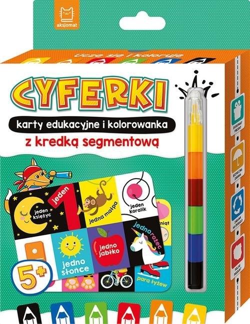 CYFERKI karty edukacyjne i kolorowanka z kredką segmentową. Uczę się i koloruję 5+