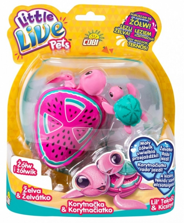 LITTLE LIVE PETS Żółw i żółwik, Różowy (MO-28315-2)