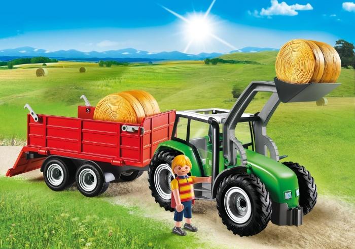 Duży traktor z przyczepą (6130)