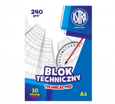Blok techniczny A3/10K 250g (10szt) ASTRA