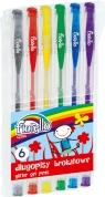Długopisy żelowe Fiorello z brokatem 6 kolorów