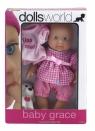 Lalka bobas Baby Grace 17 cm różowa krata