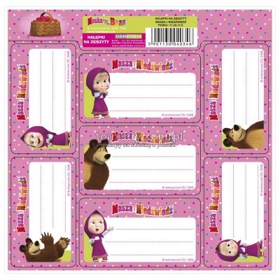 Nalepki na zeszyty Masza i Niedźwiedź