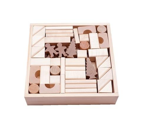 Klocki drewniane naturalne w skrzynce 92 elementy
