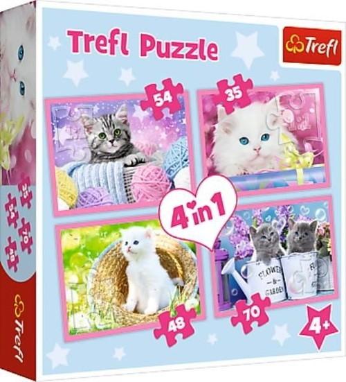 Puzzle 4w1 Kocie zabawy