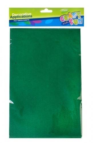 Filc arkusz zielony A4 10el