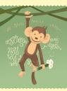 Karnet urodziny Małpka 12x16,5 cm